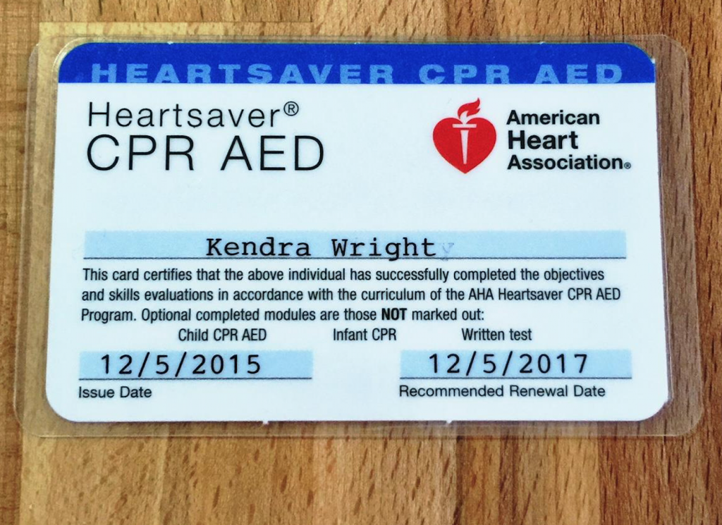 CPR Certification Card